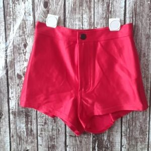 American apparel shiny zip up high waisted